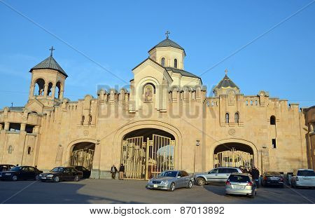 Tbilisi, Georgia-Feb,25 2015: The main entrance to the Holy Trinity Cathedral of Tbilisi