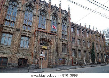 Tbilisi, Georgia-Feb,26 2015: Secondary school building in neo-Gothic style in Tbilisi, Georgia