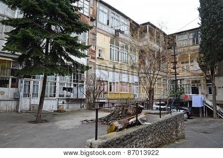 Tbilisi, Georgia-Feb,26 2015: Inner courtyard of houses in Tbilisi, Georgia