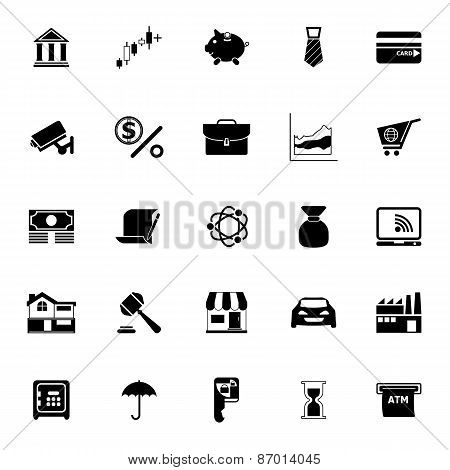 Banking And Financial Icons On White Background
