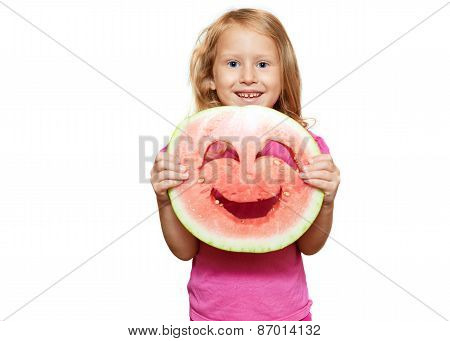 Girl with smiley of watermelon