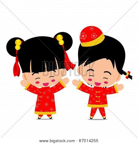 Chinese Boy And Girl For New Year Design And Decoration On The White Background