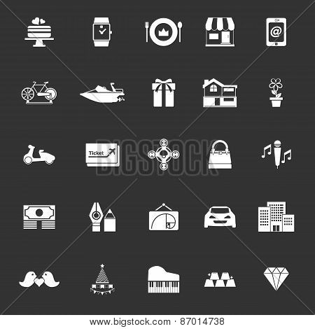 Birthday Gift Icons On Gray Background