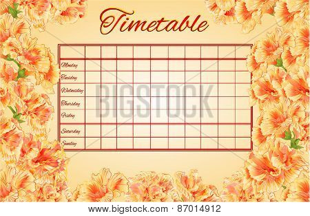 Timetable Weekly Schedule With Hibiscus Vector