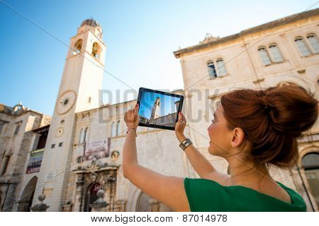 Woman traveling in Dubrovnik city