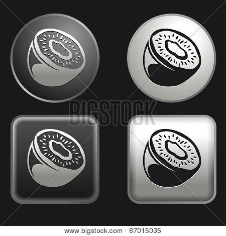 Kiwi Fruit Icon On Round And Square Buttons