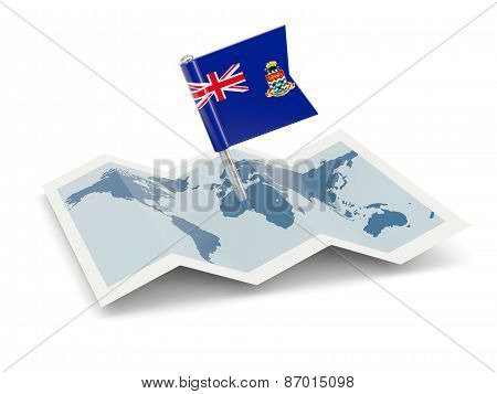 Map With Flag Of Cayman Islands