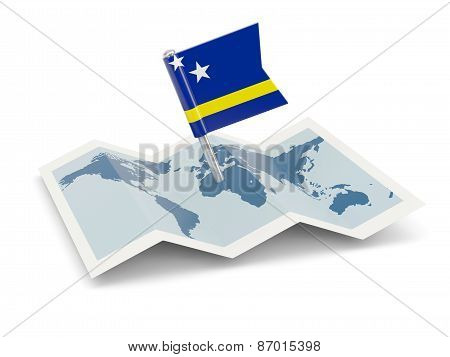 Map With Flag Of Curacao