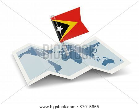 Map With Flag Of East Timor
