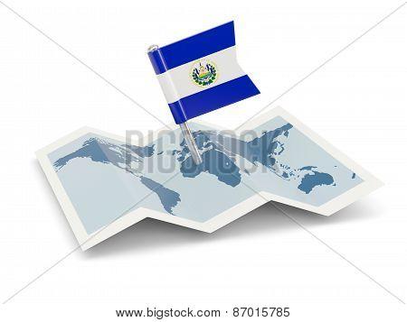 Map With Flag Of El Salvador