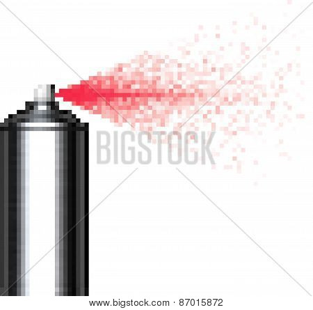 Pixel Spray Can Spraying Pixels Over White