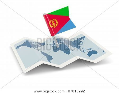 Map With Flag Of Eritrea