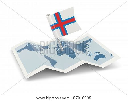 Map With Flag Of Faroe Islands