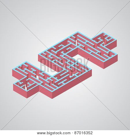 Vector illustration of maze.Isometric dollar labyrinth flat styl