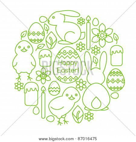 Composition Of Easter Symbols Line Art