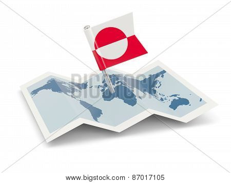 Map With Flag Of Greenland