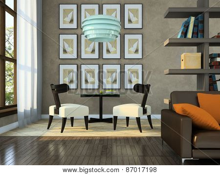 Part of the modern apartment 3D rendering. Illustrations on the wall were designed by me.