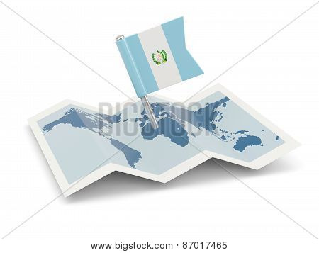 Map With Flag Of Guatemala