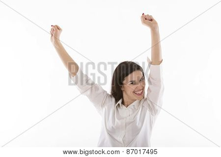happy beautiful young business woman rising arms