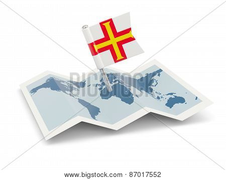 Map With Flag Of Guernsey