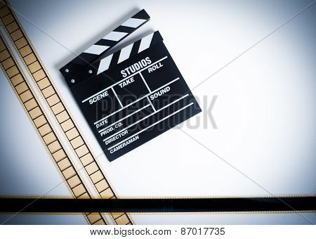 35Mm Movie Filmstrip With Clapper Board, Vintage Color, Horizontal