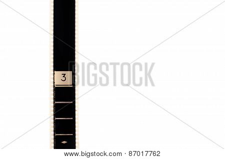 Number Three Countdown Movie Filmstrip Vertical And Copyspace