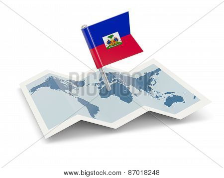 Map With Flag Of Haiti