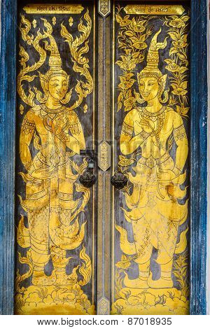 Thai Tradition Buddhist Church Door