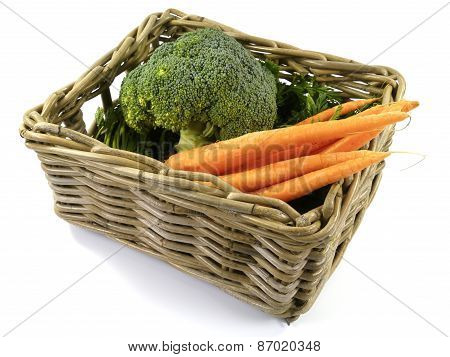 Isolated basket with fresh vegetables