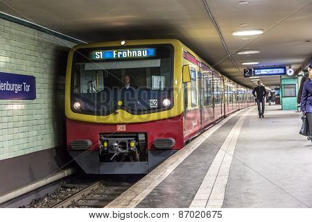 People At Potsdamer Platz Subway Station In Berlin, Germany