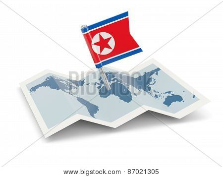Map With Flag Of North Korea