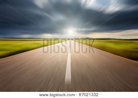 Driving Speed On An Empty Aspalt Road