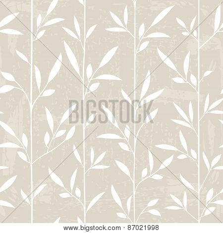 Seamless Leaf Pattern With Grunge Texture