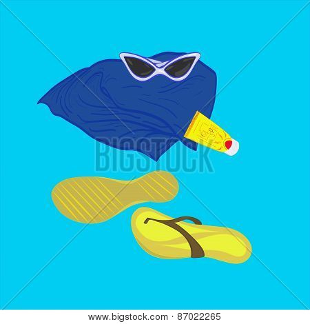 Towel Sunglasses Flip-flops Sunblock