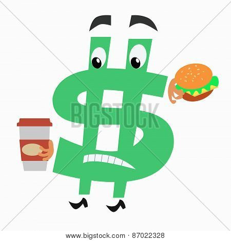character dollar sign with hamburger and Cup of coffee