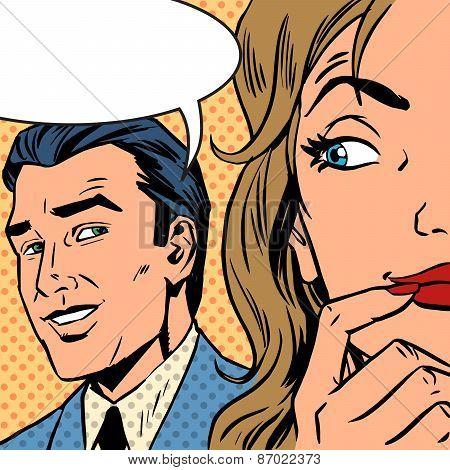 Man Calls Woman Retro Style Comic Pop Art Vintage Poster