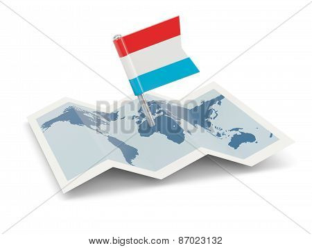 Map With Flag Of Luxembourg