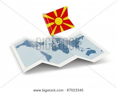 Map With Flag Of Macedonia