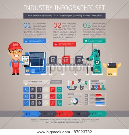 Industry Infographic Set with Factory Conveyor and Robot Arm