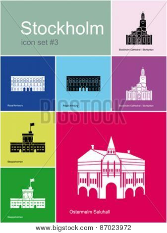 Landmarks of Stockholm. Set of color icons in Metro style. Editable vector illustration.