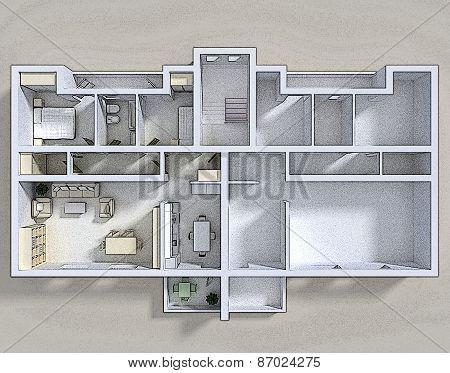 Double 3d apartment
