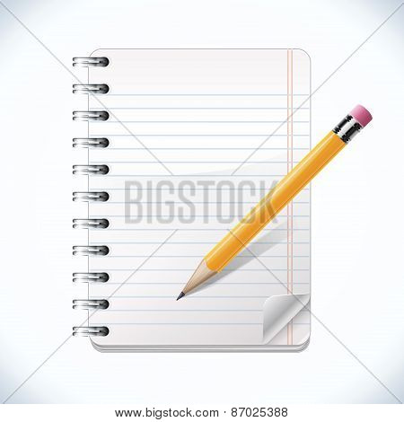 Realistic Notepad With Pencil