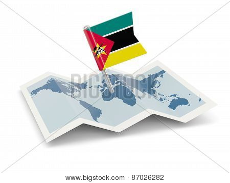 Map With Flag Of Mozambique