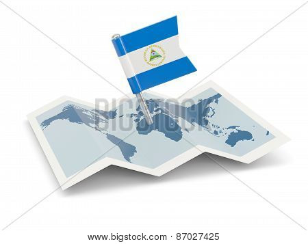 Map With Flag Of Nicaragua