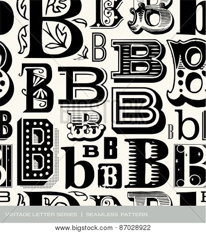 Seamless vintage pattern of the letter B
