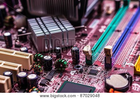 Computer Motherboard, Macro And Blurred View