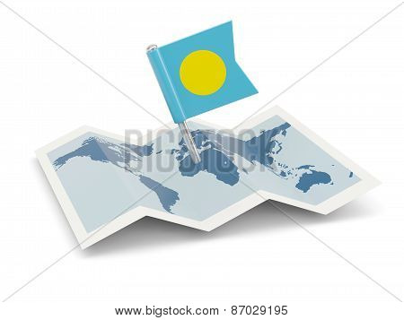 Map With Flag Of Palau