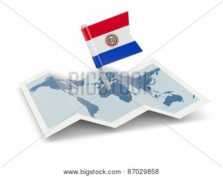 Map With Flag Of Paraguay