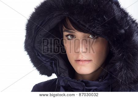 Girl with winter jacket