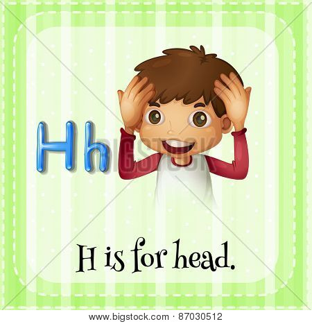 Flashcard letter H is for head
